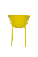 Yellow Plastic Cafe Chair on White Background, Rear View