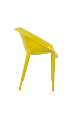 Yellow Plastic Cafe Chair on White Background, Side View