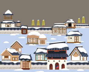 Korean traditional town in winter