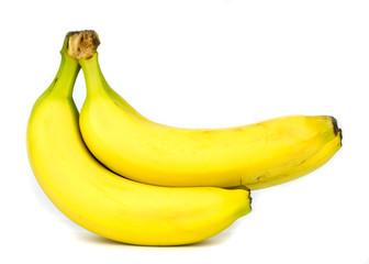 Fresh ripe bananas on white background