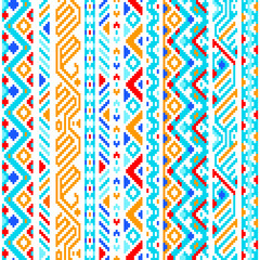 Colorful ethnic geometric aztec seamless pattern, vector