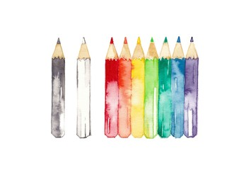 Fototapeta 虹色鉛筆、黒と白 obraz