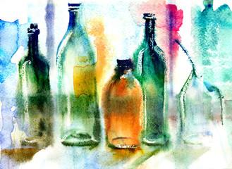 Still life of various bottles