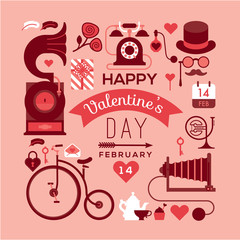 Romantic postcard with valentine's day symbols and silhouettes. Text composition with illustration in retro style.