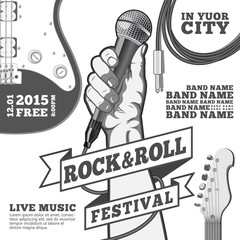 Rock and roll festival concept poster. Hand holding a microphone