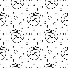 Seamless vector pattern with insects, black and white background with snails and dots.