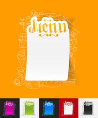 menu paper sticker with hand drawn elements