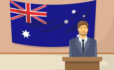 Australia Flag Tribune Speech Businessman Politic