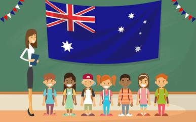 Teacher School Holding Australia Flag Children Board Classroom