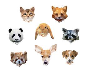 vector illustration animal polygon low poly. cute set animal