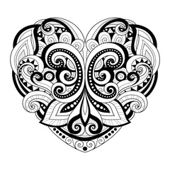 Vector Decorative Monochrome Abstract Heart