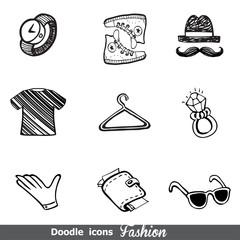 Fashion doodle icon set
