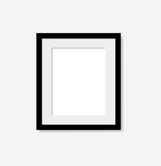 Realistic black frame with passepartout. Vector EPS10 illustrati