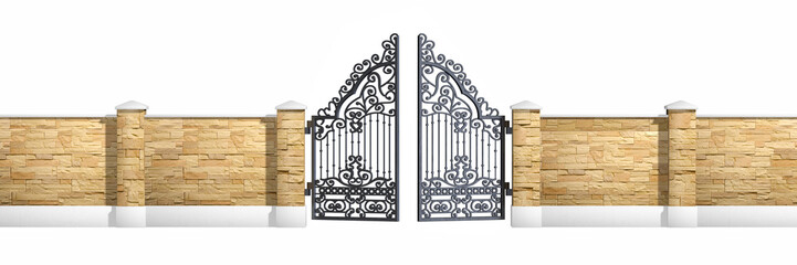 Classical design black iron gate
