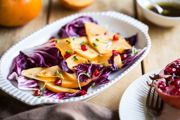 Persimmon with Radicchio and Pomegranate salad