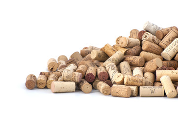 Wine corks on a white background..