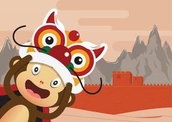 Monkey cartoon character and Great Wall of China Background. 2016 Happy Chinese New Year. Vector Illustration