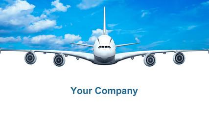 Passagierflugzeug, freigestellt mit Werbefläche