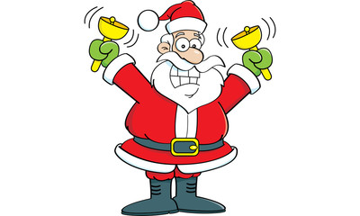 Cartoon illustration of Santa Claus ringing bells.