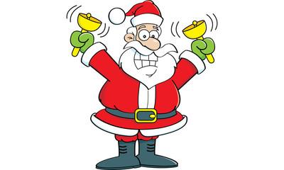 Cartoon illustration of Santa Claus ringing bells.
