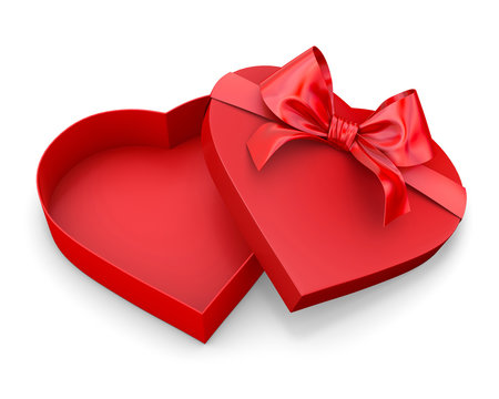 Heart shaped gift box 3d render