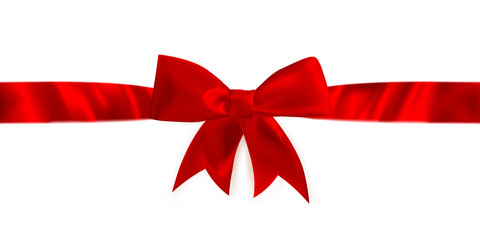 Red gift bow and ribbon. EPS 10