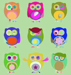 vector Set of nine cartoon owls with various emotions