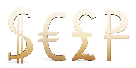 Set of Golden currency symbols. Dollar, Euro, Pound sterling and