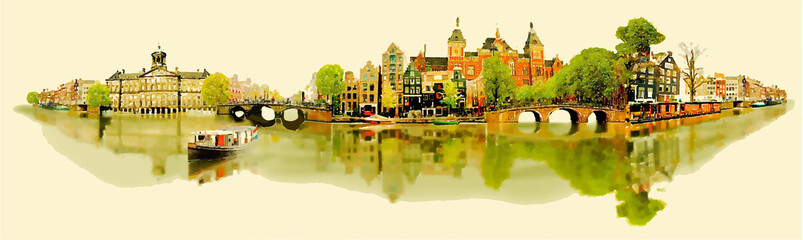 illustration panoramic AMSTERDAM view..