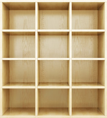 Empty wooden shelves. 3d render image.