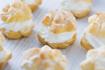 Fresh profiteroles with cream