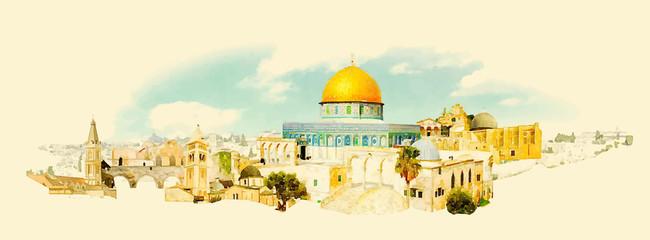 vector watercolor JERUSALEM city illustration Wall mural