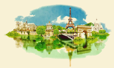 vector watercolor PARIS city illustration