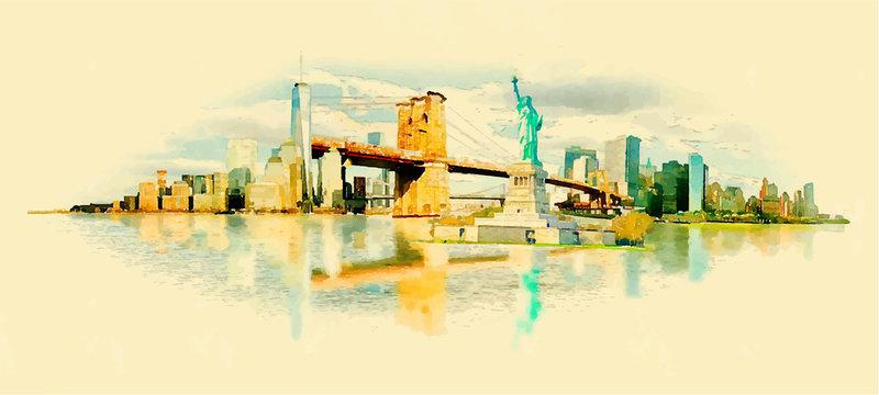 vector watercolor NEW YORK city illustration