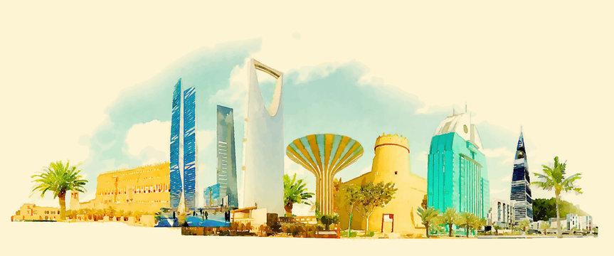 vector watercolor RIYADH city illustration