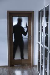 Shadow of burglar behind doors