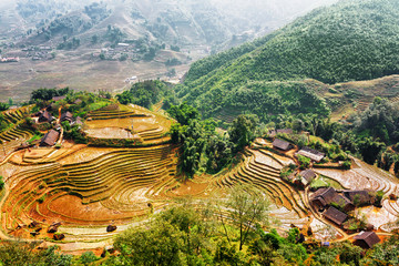Top view of village houses and rice terraces in Vietnam