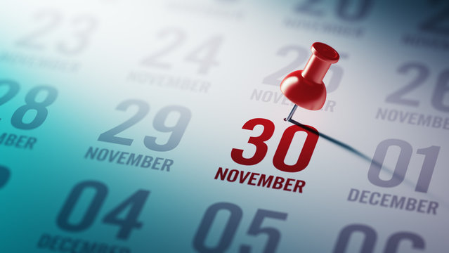 November 30 written on a calendar to remind you an important app