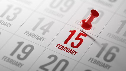 February 15 written on a calendar to remind you an important app
