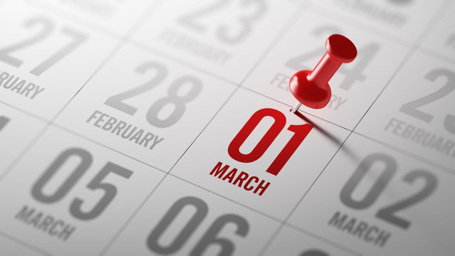 March 01 written on a calendar to remind you an important appoin