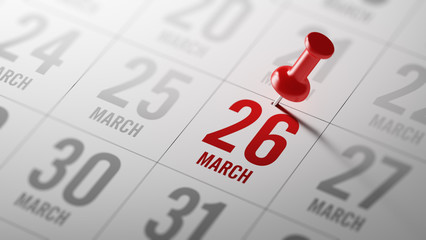 March 26 written on a calendar to remind you an important appoin