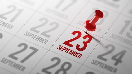 September 23 written on a calendar to remind you an important ap