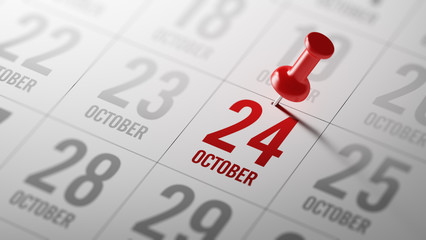 October 24 written on a calendar to remind you an important appo