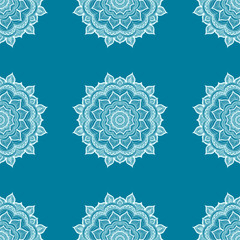 Doodle mandala. Vector seamless pattern with hand drawn doodle mandala. Indian tribal ornament. Blue and white colors.