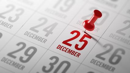 December 25 written on a calendar to remind you an important app