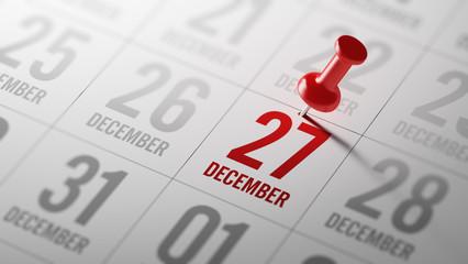 December 27 written on a calendar to remind you an important app