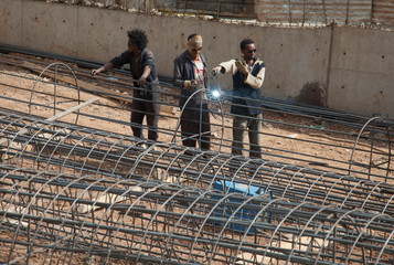 A team of welders on the street of Addis Ababa