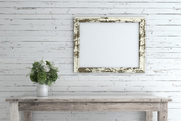 Picture Frame on Wooden Wall.