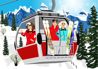 cable car or booth carrying skiers in the mountains