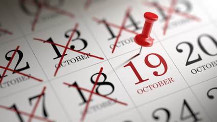 October 19 written on a calendar to remind you an important appo
